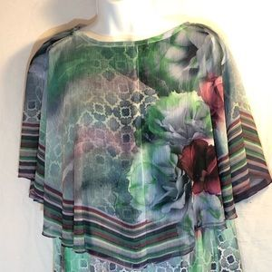 Live and let Live layered tunic sheer PM blouse